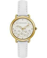 BCBGMAXAZRIA Ladies White Leather Strap With Floral Dial And Gold Case, 34mm