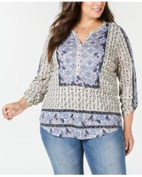 Style & Co. - Plus Size Mixed-print Shirttail Hem Blouse, Created For Macy's - Lyst