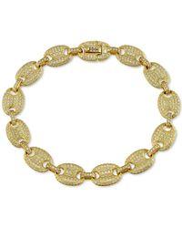 Macy's Cubic Zirconia Anchor Link Bracelet In 14k Gold Over Silver - Metallic