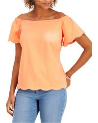 Charter Club Off-the-shoulder Top, Created For Macy's - Orange