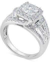 Macy's Diamond Princess Overlap Engagement Ring (1-1/2 Ct. T.w.) In 14k White Gold - Metallic
