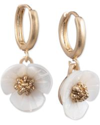 Lonna & Lilly - Gold-tone Imitation Mother-of-pearl Flower Drop Earrings - Lyst
