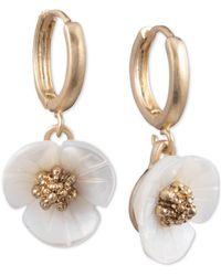 Lonna & Lilly 3d Flower Drop Earrings - White