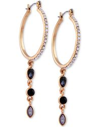 Guess - Gold-tone Crystal & Stone Hoop Earrings - Lyst