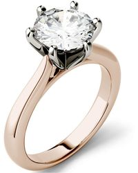 Charles & Colvard Moissanite Solitaire Engagement Ring 1-9/10 Ct. T.w. Diamond Equivalent In 14k White, Yellow Or Rose Gold - Metallic