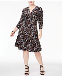 Anne Klein - Plus Size Printed Twist-front Dress - Lyst