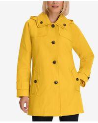 London Fog Petite Single-breasted Hooded Raincoat - Yellow