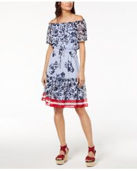 Tommy Hilfiger - Off-the-shoulder Drawstring-waist Dress, Created For Macy's - Lyst