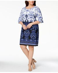Charter Club - Plus Size Printed Shift Dress, Created For Macy's - Lyst