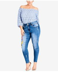 City Chic - Trendy Plus Size Embroidered Skinny Jeans - Lyst