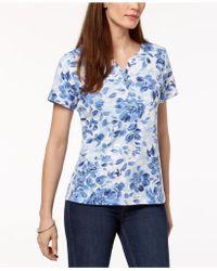 Karen Scott - Printed Henley T-shirt, Created For Macy's - Lyst