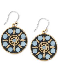 Lucky Brand - Gold-tone Hammered Mother-of-pearl Circle Drop Earrings - Lyst