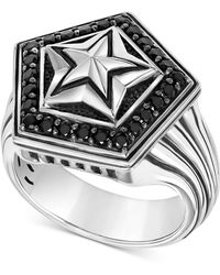 Scott Kay - Men's Black Sapphire Star Ring (1-1/4 Ct. T.w.) In Sterling Silver - Lyst