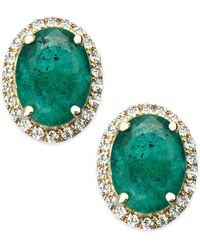 Macy's - Emerald And White Sapphire Oval Stud Earrings In 10k Gold (2-1/2 Ct. T.w.) - Lyst