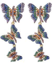 Noir Jewelry Multi-colored Cubic Zirconia Butterfly Statement Earring - Metallic