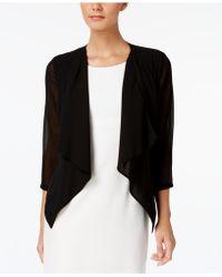 Calvin Klein Illusion-sleeve Draped Cardigan - Black