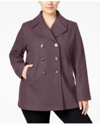 Kenneth Cole - Plus Size Double-breasted Peacoat - Lyst