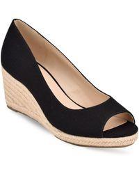 Bandolino Nuri Peep-toe Espadrille Wedge Sandals - Black