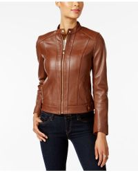 Cole Haan - Leather Snap-button Moto Jacket - Lyst