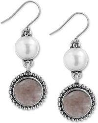 Lucky Brand - Silver-tone Druzy Stone & Imitation Pearl Drop Earrings - Lyst