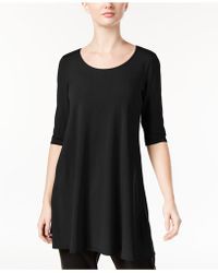 Eileen Fisher - Three-quarter-sleeve Scoop-neck Tunic - Lyst