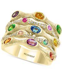Effy Collection Effy® Multi-gemstone (2-3/8 Ct. T.w.) & Diamond (1/5 Ct. T.w.) Statement Ring In 14k Gold - Metallic