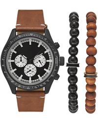 INC International Concepts Brown Leather Strap Watch 48mm Gift Set, Created For Macy's