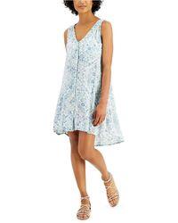 J Valdi Printed High-low Cover-up Dress - Blue