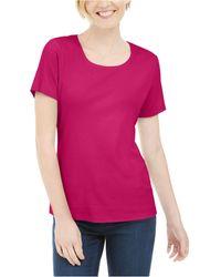 Karen Scott Short Sleeve Scoop Neck Top, Created For Macy's - Pink
