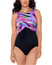 Reebok Wrapped In Perfection Printed One-piece Swimsuit - Black