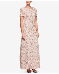 Alex Evenings - Sequin-embellished Short-sleeve Gown - Lyst