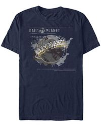 Fifth Sun Superman Daily Planet Newspaper Logo Short Sleeve T-shirt - Blue