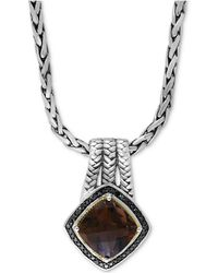 "Effy Collection - Effy® Smoky Quartz (3-3/4 Ct. T.w.) And Black Diamond (1/5 Ct. T.w.) 18"" Pendant Necklace In Sterling Silver And 18k Gold - Lyst"