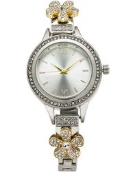 Charter Club - Two-tone Crystal Flower Bracelet Watch 32mm, Created For Macy's - Lyst