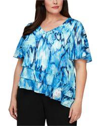 Alex Evenings Plus Size Printed Tiered-hem Blouse - Blue