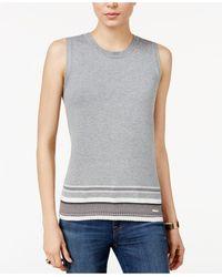 Tommy Hilfiger Sleeveless Striped-bottom Sweater - Gray