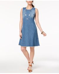 Style & Co. - Petite Frayed-denim Swing Dress, Created For Macy's - Lyst
