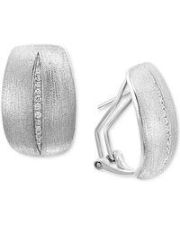 Effy Collection Effy® Diamond Satin Finish Drop Earrings (1/10 Ct. T.w.) In Sterling Silver - Metallic