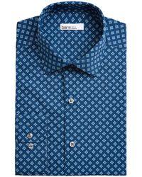 Bar Iii Slim-fit Medallion-print Dress Shirt, Created For Macy's - Blue
