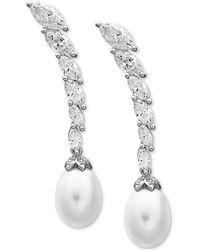 Arabella - Cultured Freshwater Pearl (8-1/2 Ct. T.w.) & Swarovski Zirconia Drop Earrings In Sterling Silver - Lyst