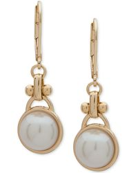 Anne Klein - Gold-tone Imitation Pearl Drop Earrings - Lyst