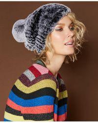 The Fur Vault - Knitted Rabbit Fur Hat - Lyst