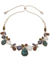 """Lonna & Lilly - Gold-tone Multi-stone 26"""" Adjustable Collar Necklace - Lyst"""