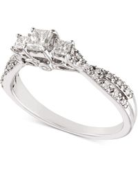 Macy's - Diamond Princess Twist Engagement Ring (1/2 Ct. T.w.) In 14k White Gold - Lyst