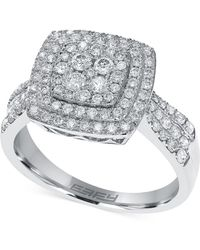 Effy Collection - Diamond Square Ring In 14k White, Yellow Or Rose Gold (3/4 Ct. T.w.) - Lyst