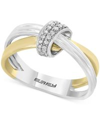 Effy Collection - Diamond Two-tone Crisscross Ring (1/10 Ct. T.w.) In 14k Gold And White Gold - Lyst