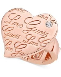 Guess - Love Crystal Heart Stretch Ring - Lyst