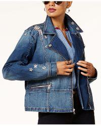 INC International Concepts - Embellished Denim Moto Jacket - Lyst
