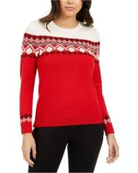 Charter Club Colorblocked Fair Isle Sweater, Created For Macy's - Red