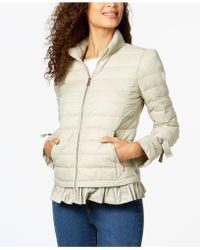 Bernardo - Ruffled Packable Puffer Coat - Lyst